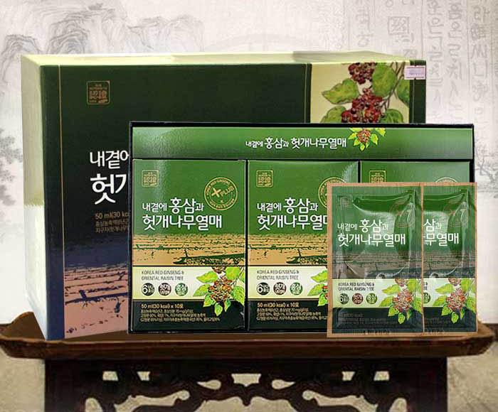 Bổ gan, giải độc rượu với Nước hồng sâm Hovenia 30 gói Daedong