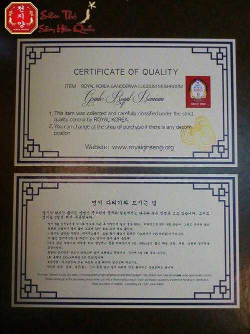 Giấy chứng nhận chất lượng Nấm Linh Chi Royal Korea