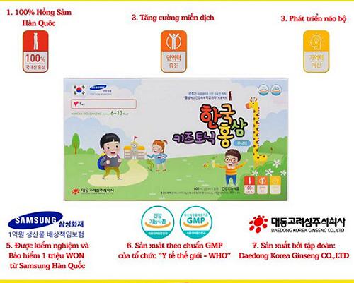 những ưu điểm nổi bật của Korean Red Ginseng Junior 6-13 year