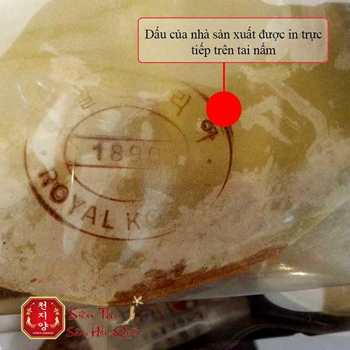 Trên tai nấm chính hãng có khắc dấu của nhà sản xuất