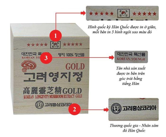 Đặc điểm hàng thật cao linh chi gold- hộp đựng