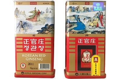 Hồng sâm củ khô hộp thiếc KGC 75g chất lượng của Hàn Quốc