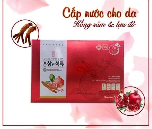 nước hồng sâm lựu collagen nuôi dưỡng làn da khỏe đẹp