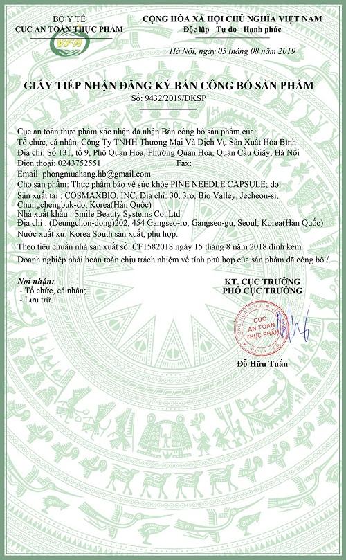 giấy chứng nhận sản phẩm củac pine needle capsule edally