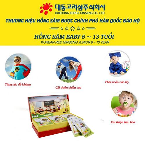 Korean Red Ginseng Junior 6-13 year giúp con yêu phát triển toàn diện