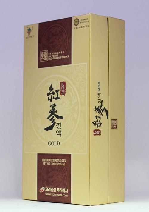 mặt trước hộp korinsam six years red ginseng drink gold
