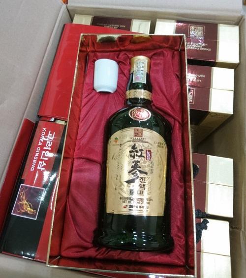 korinsam six years red ginseng drink gold chai 700ml sang trọng bắt mắt